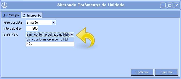 Parâmetros da unidade do PEF.