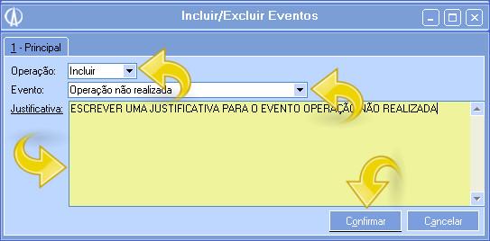 Informar dados do evento
