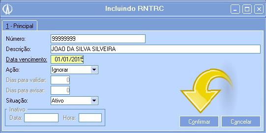 Tela Incluindo RNTRC.