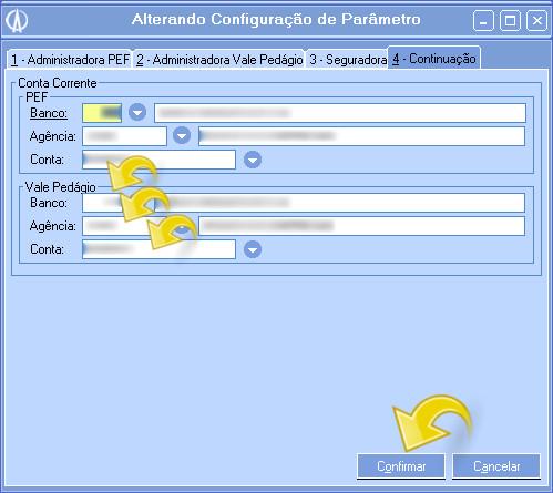 Configurações da administradora.