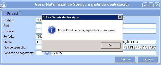Nota fiscal de Serviço gerada com sucesso