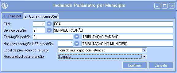 Incluindo Parâmetro por município