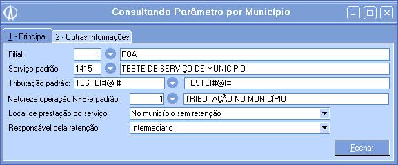 Parâmetros por Município do Tipo de Operação Definido no Contrato