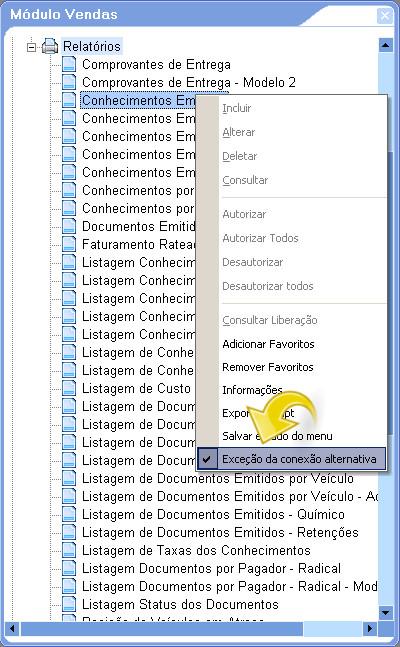 Configurando exceção de conexão alternativa por relatório.