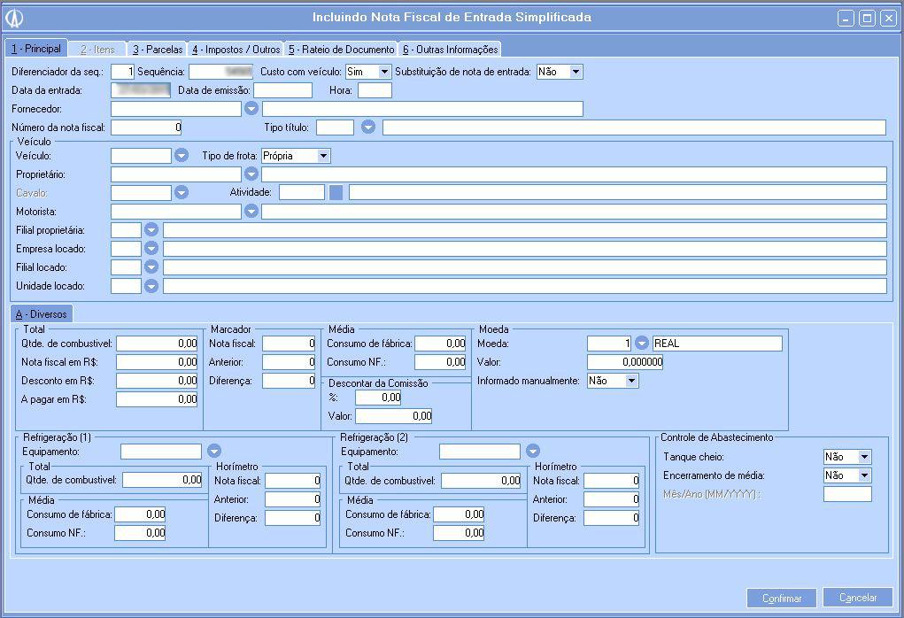 Incluindo nota fiscal de entrada simplificada