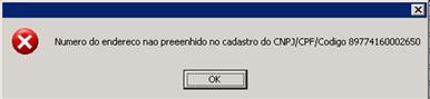 Número do endereço não preenchido no cadastro do CNPJ/CPF/Código 89774160002650