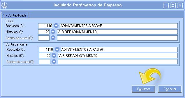 Parâmetros de empresa dos adiantamentos.