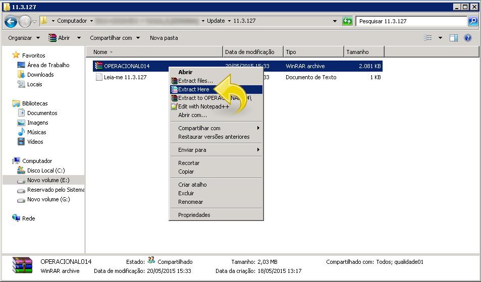Extrair arquivo OPERACIONAL014.rar