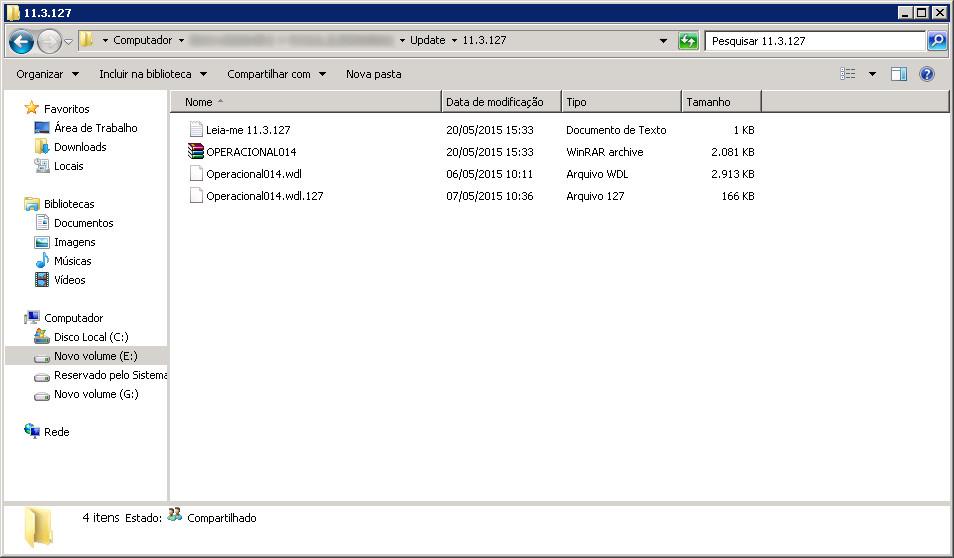 Conferindo arquivos do OPERACIOANAL014.
