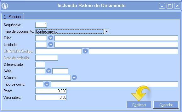 Incluindo Rateio de Documento