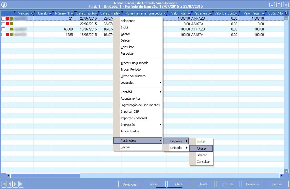 Parâmetros da Empresa