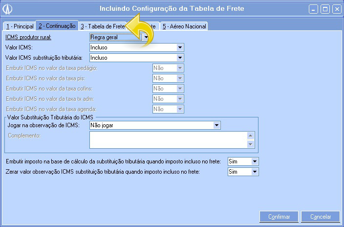 Incluindo Configuração da Tabela de Frete