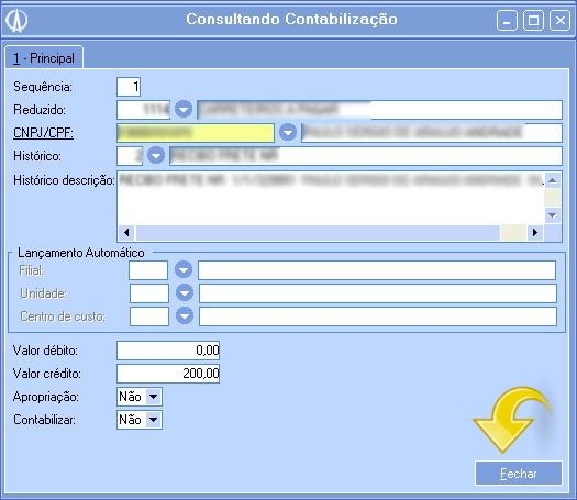 Consultando Contabilização