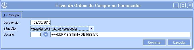 Envio da Ordem de Compra ao Fornecedor