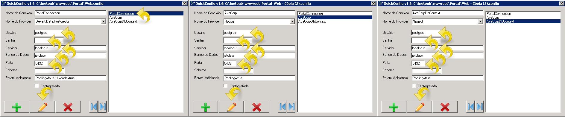 Configurando conexões de banco de dados.