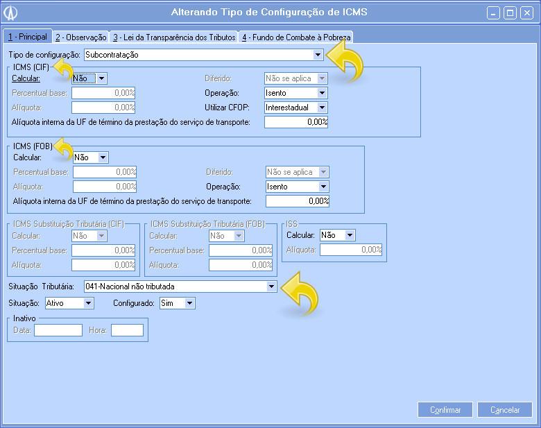 Configurando ICMS