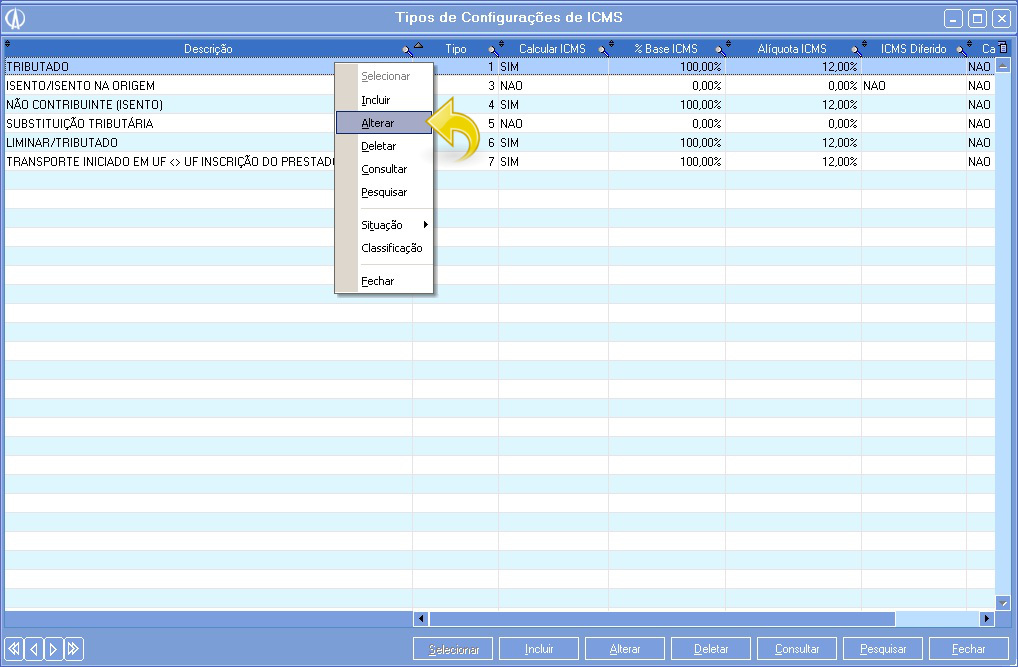 Tela Tipos de Configuração de ICMS