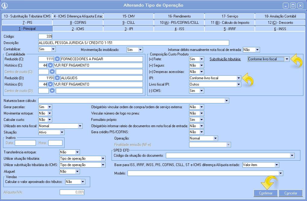 Alterando IPI e Substituição tributária