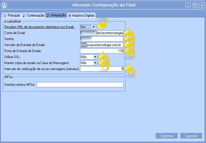 Tela Alteração de Configuração da Filial
