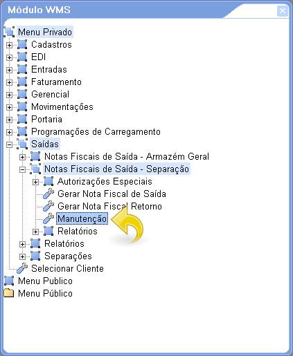 Abrindo o menu das Notas Fiscais de Saída - Separação