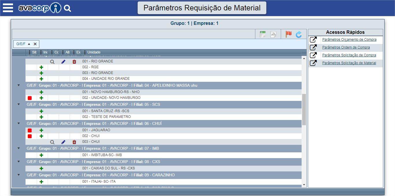 Parâmetros Requisição de Material