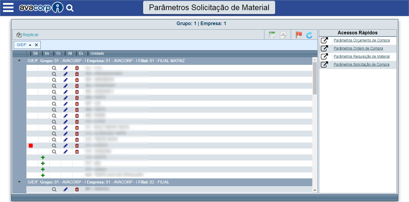 Parâmetros Solicitação de Material.