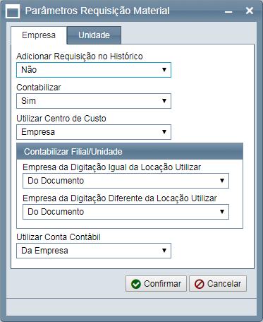 Configuração de parâmetros da empresa.