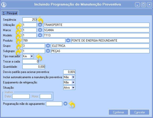 Incluindo nova programação do tipo KM