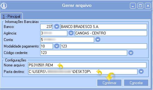 Informe os dados para gerar arquivo