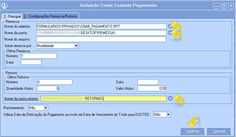2 - Configurações Remessa/Retorno