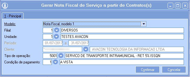 Gerando uma Nota Fiscal de Serviço (NFS-e) a partir do período apurado.