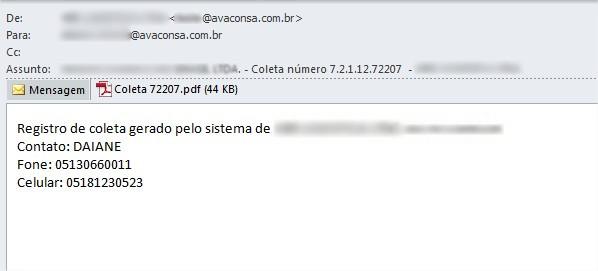 E-mail enviado.