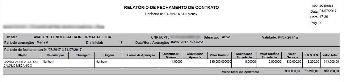 Impressão do relatório de fechamento de contrato.