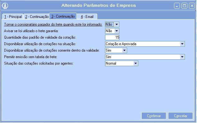 Parâmetros da Empresa.