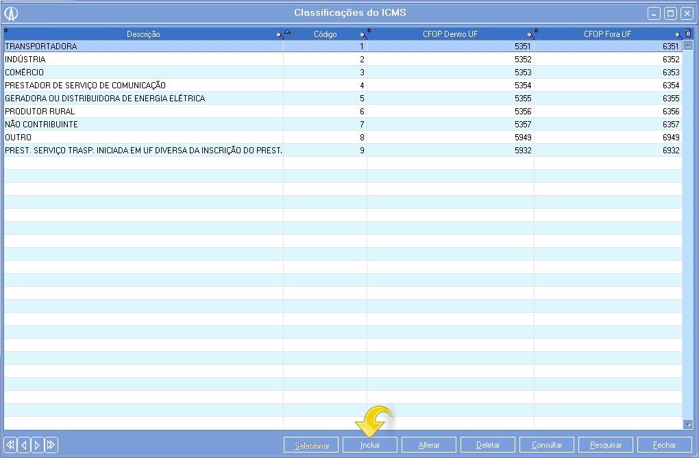 Incluindo uma classificação de ICMS