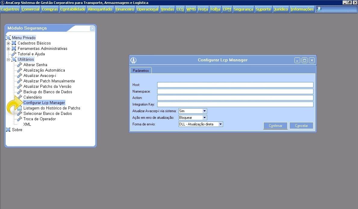 Configurando a atualização do Avacorp I.